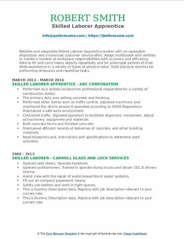 Skilled Laborer Apprentice Resume Example