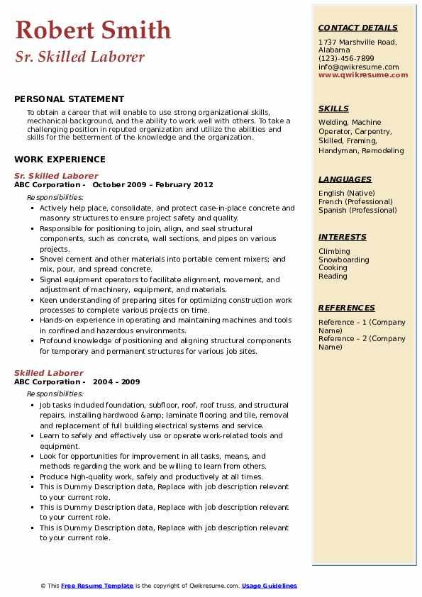 Sr. Skilled Laborer Resume Format
