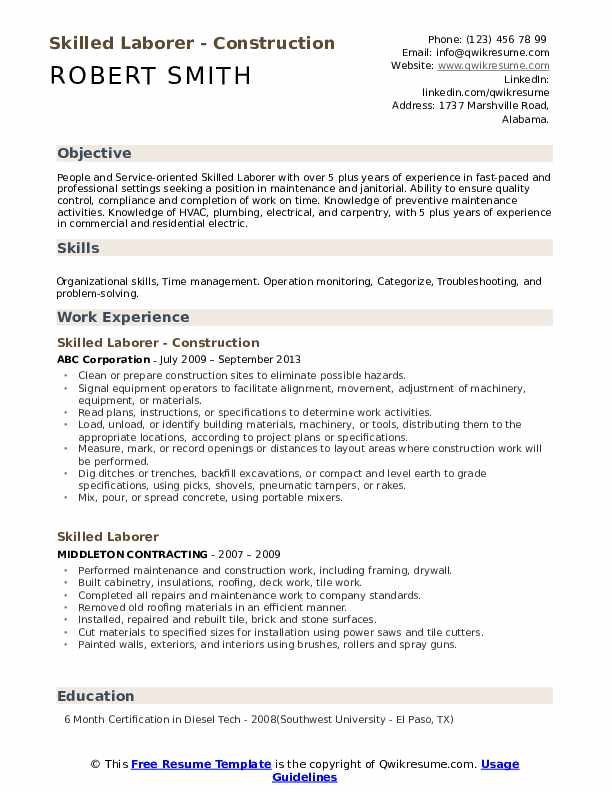 Skilled Laborer Resume example