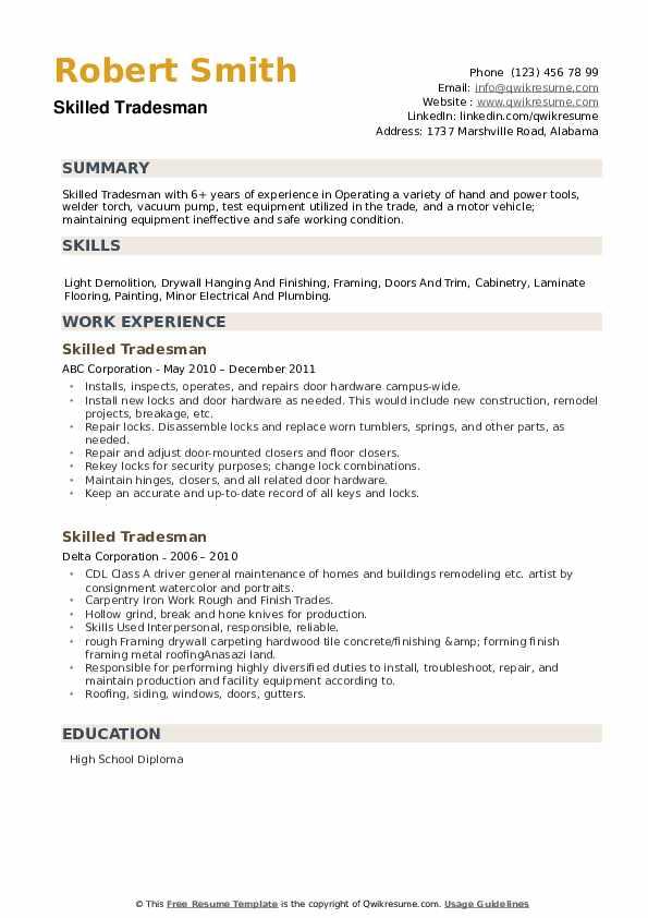 Skilled Tradesman Resume example