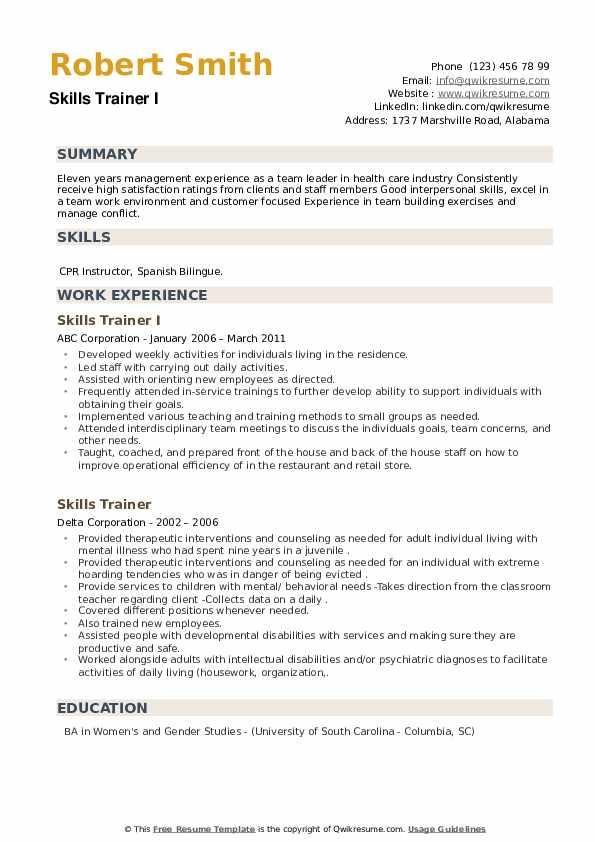 Skills Trainer Resume example