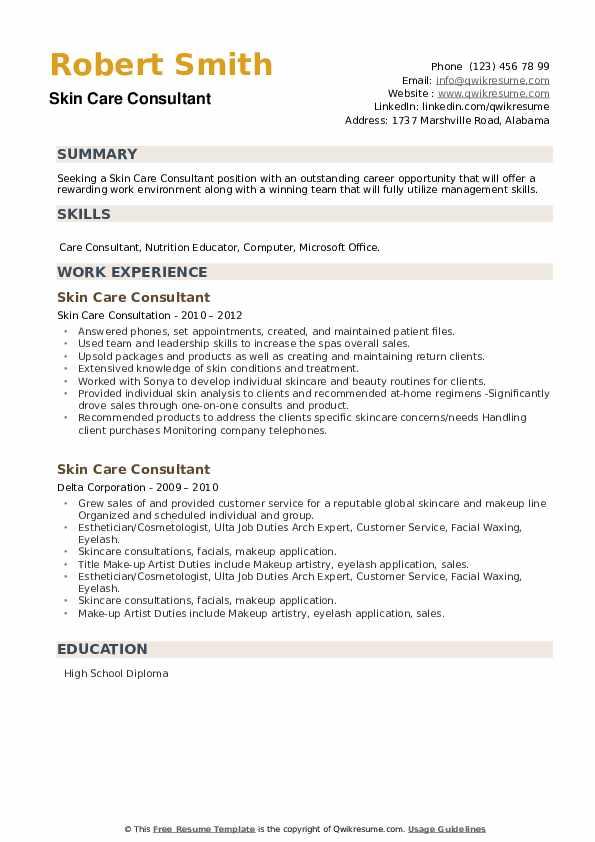 Skin Care Consultant Resume example