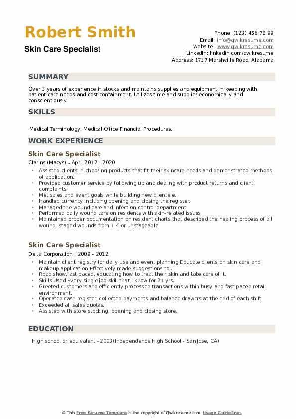 Skin Care Specialist Resume example