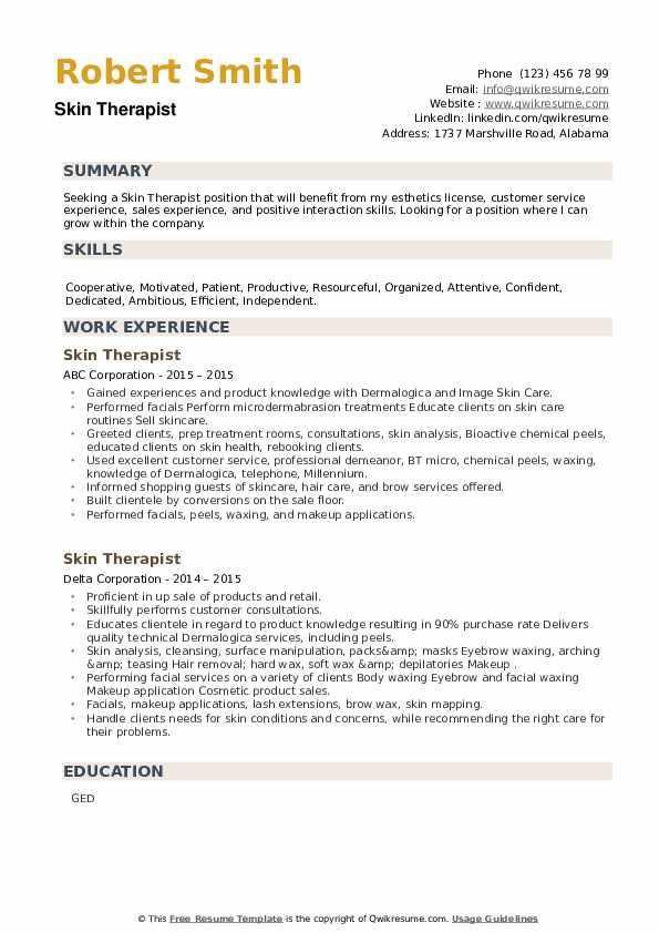 Skin Therapist Resume example