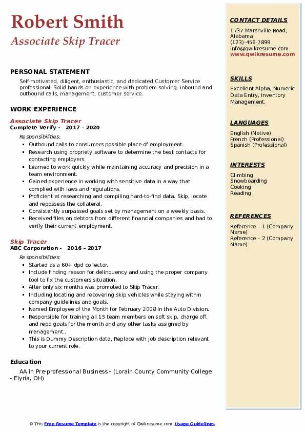 Skip Tracer Resume Samples Qwikresume
