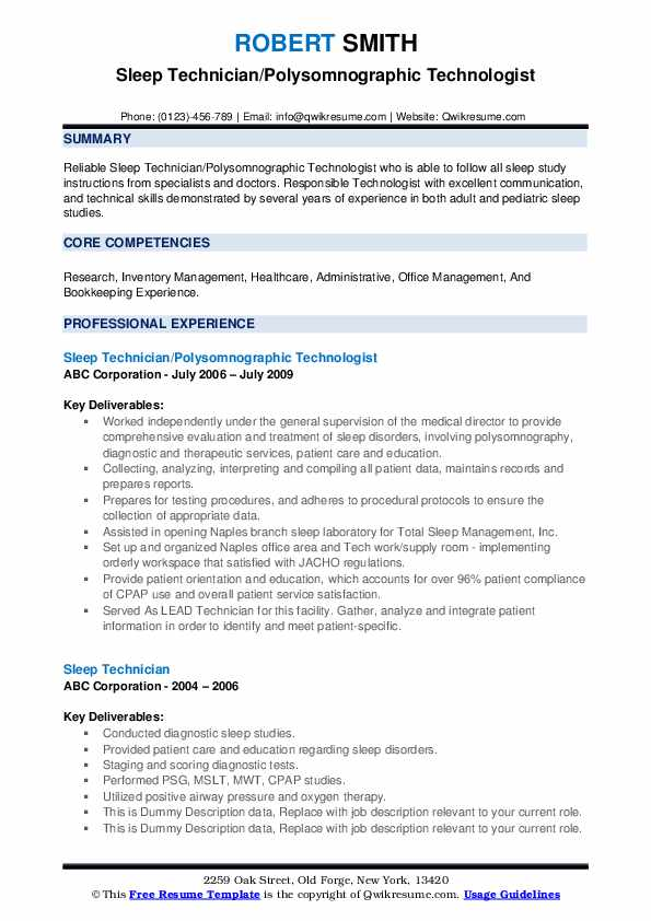 Polysomnographic technician resume how to write a business feature article