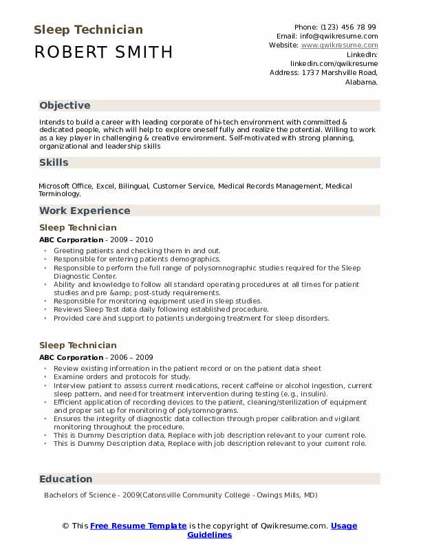 Sleep Technician Resume example