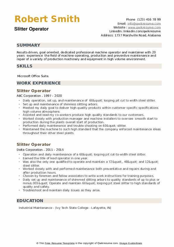 Slitter Operator Resume example