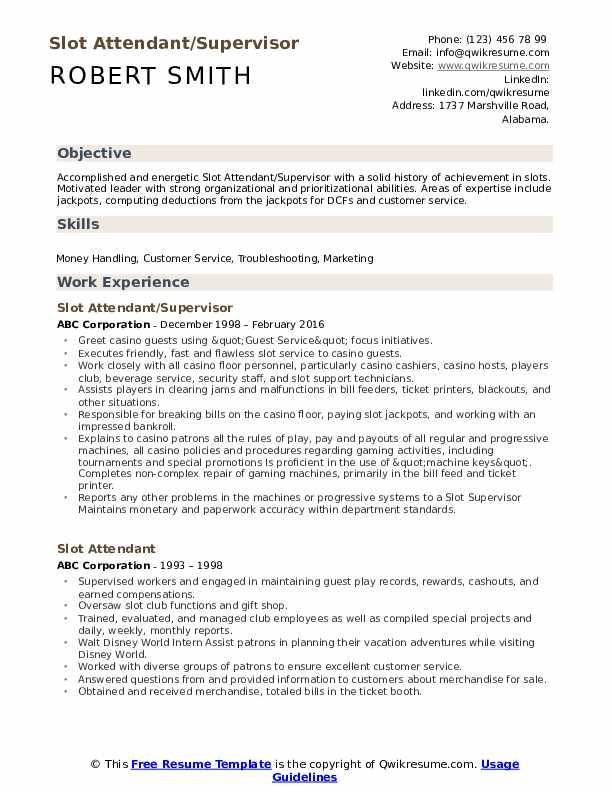 Slot Attendant/Supervisor Resume Format