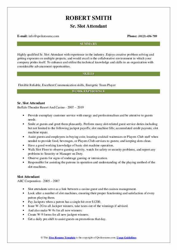 Sr. Slot Attendant Resume Example