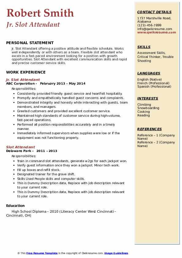 Jr. Slot Attendant Resume Template