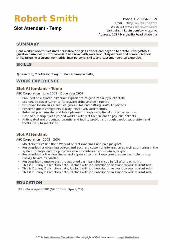 Slot Attendant Resume example