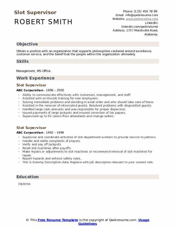 Slot Supervisor Resume example
