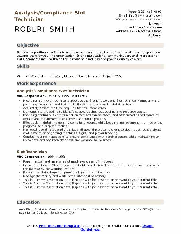 Analysis/Compliance Slot Technician Resume Example