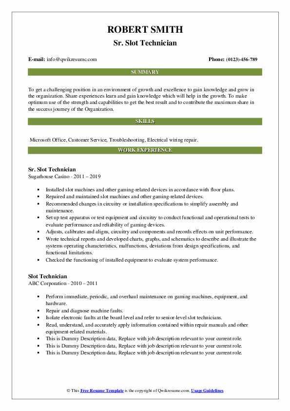 Sr. Slot Technician Resume Model