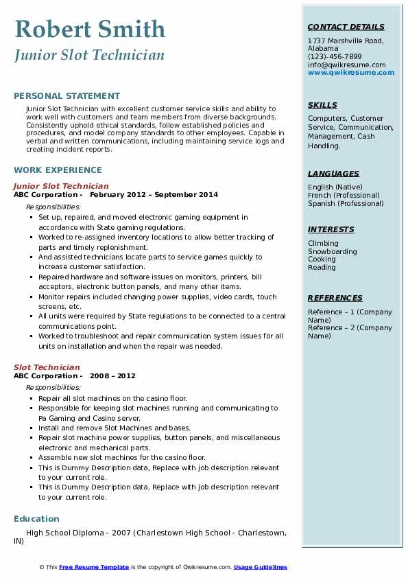 Junior Slot Technician Resume Example