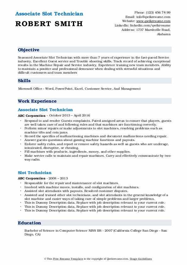 Associate Slot Technician Resume Format