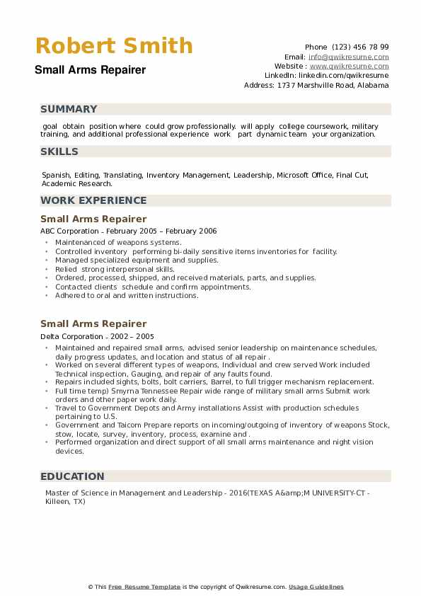 Small Arms Repairer Resume example
