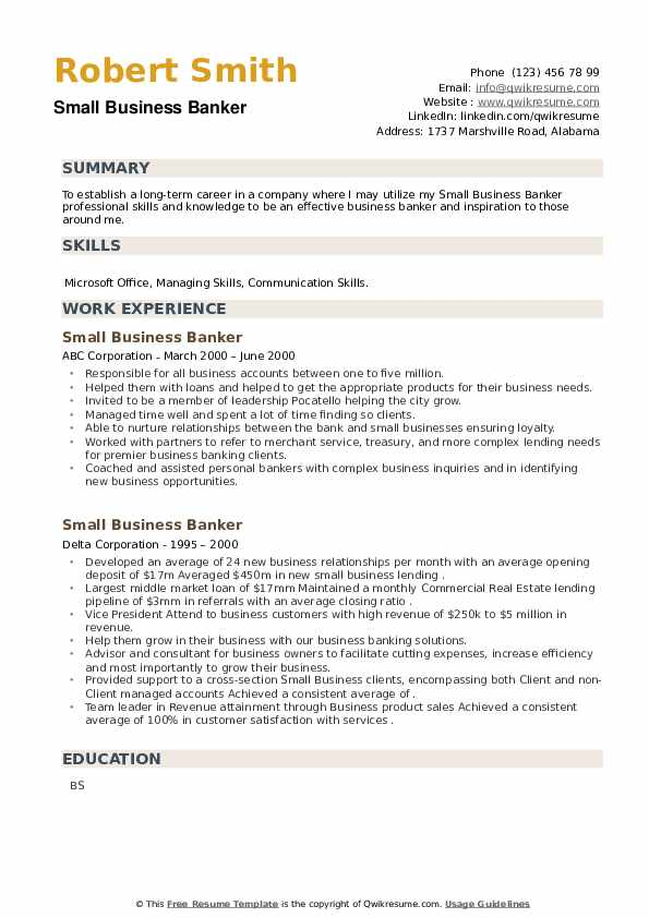 Small Business Banker Resume example