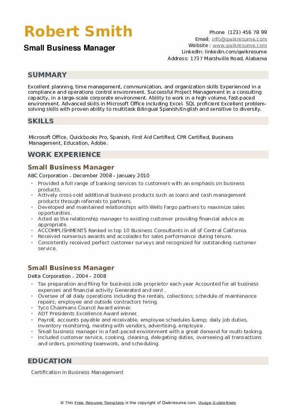 Small Business Manager Resume example