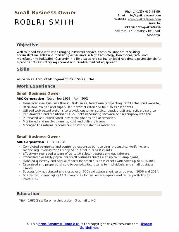Small Business Owner Resume Model