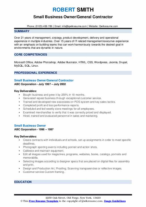 Small Business Owner/General Contractor Resume Template