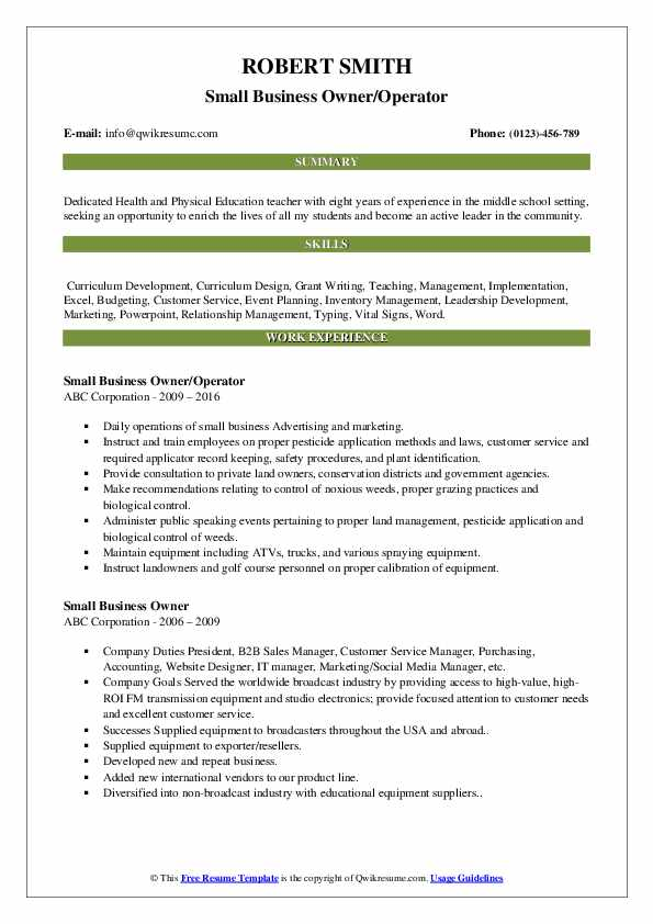 Small Business Owner/Operator Resume Template