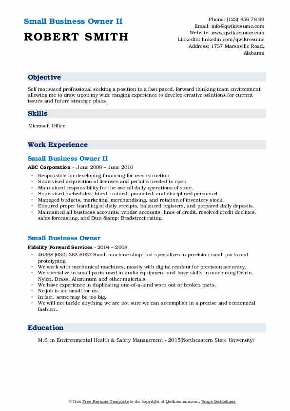 Small Business Owner II Resume Template