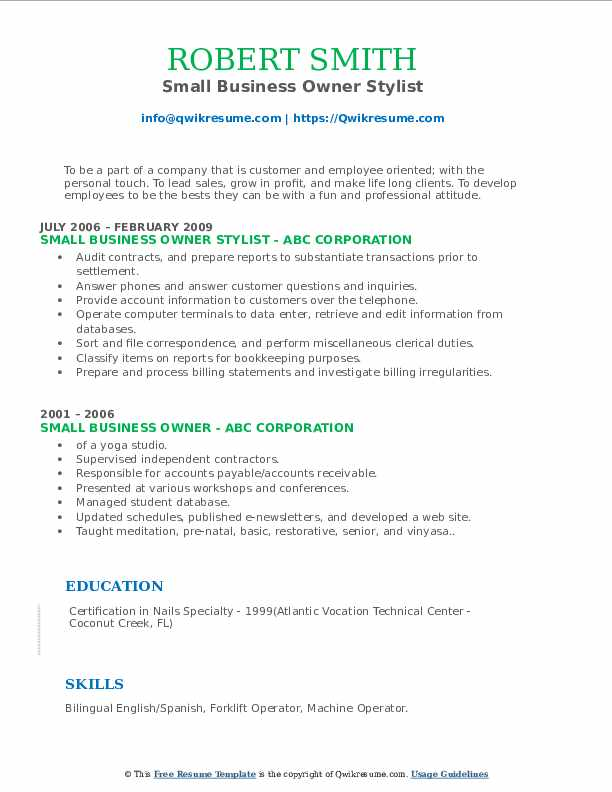 Small Business Owner Stylist Resume Example