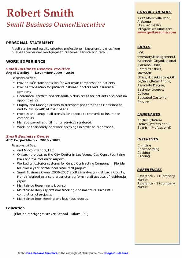Small Business Owner/Executive Resume Model