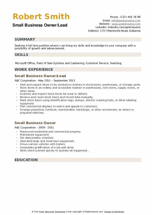 Small Business Owner/Lead Resume Sample