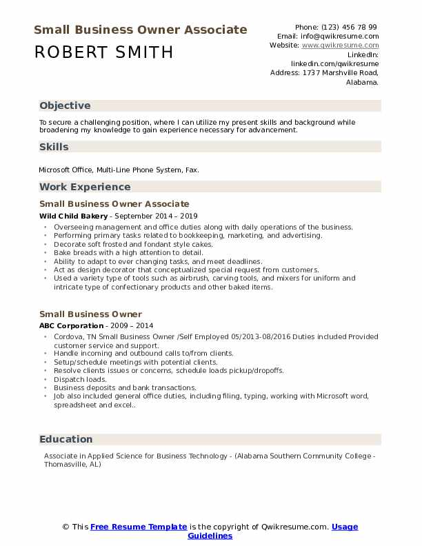 Small Business Owner Associate Resume Template