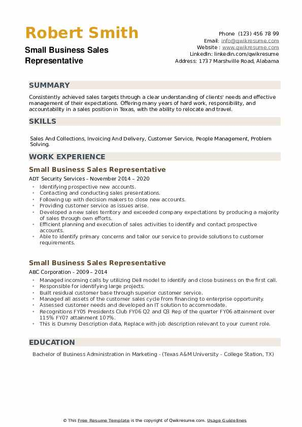 Small Business Sales Representative Resume example