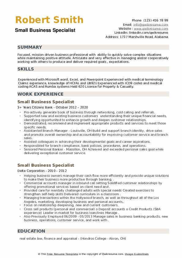 Small Business Specialist Resume example