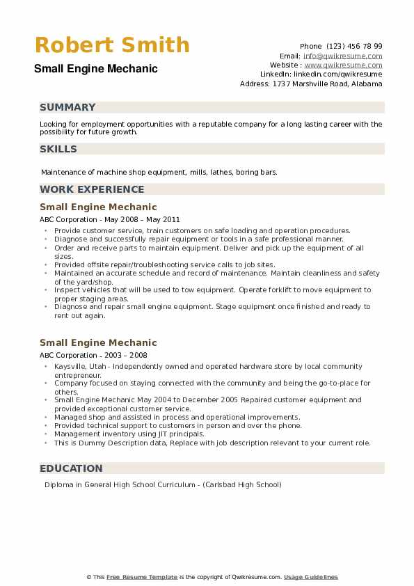 Small Engine Mechanic Resume example