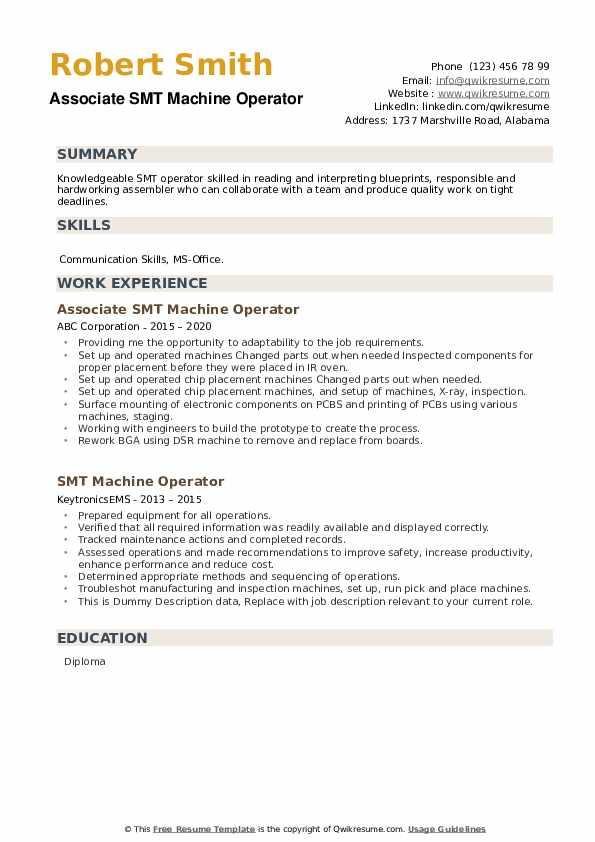 Smt Machine Operator Resume Samples Qwikresume