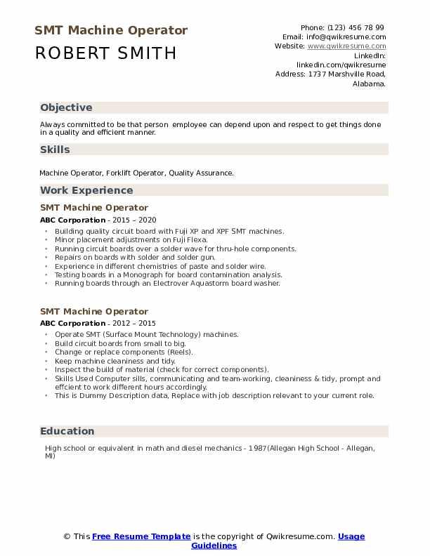 SMT Machine Operator Resume example