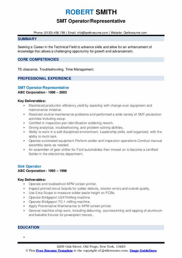 Smt Operator Resume Samples Qwikresume