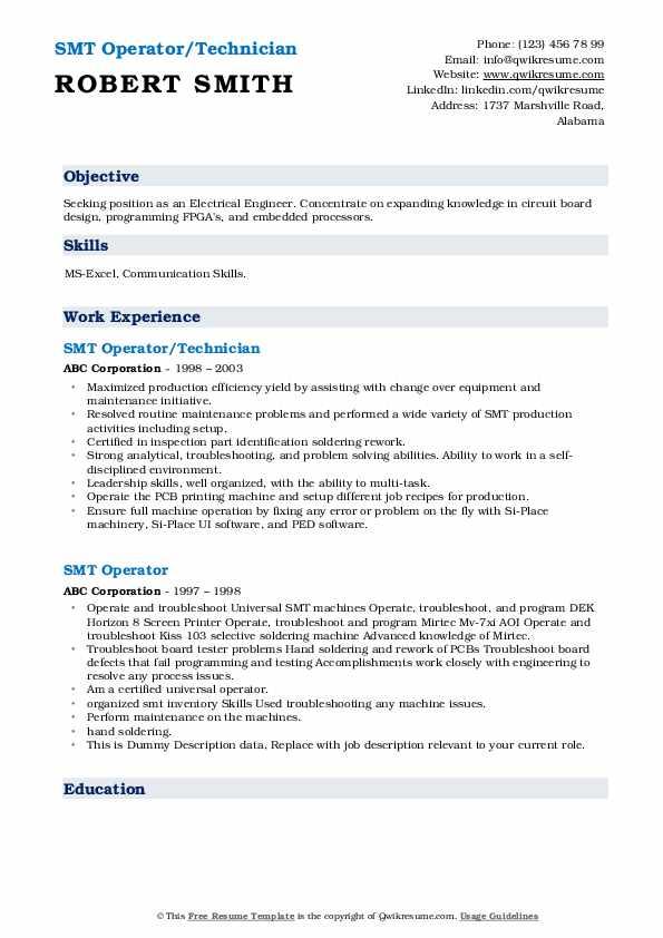 smt operator resume samples