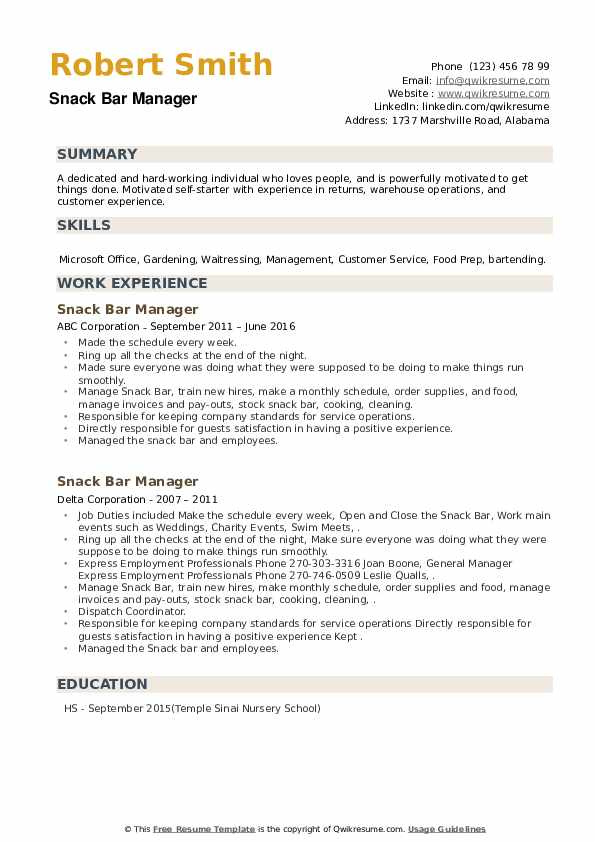 Snack Bar Manager Resume example