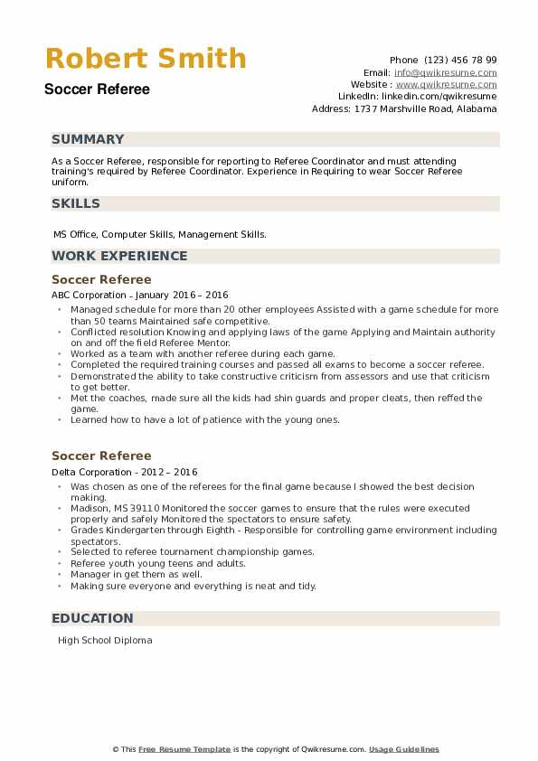 Soccer Referee Resume example