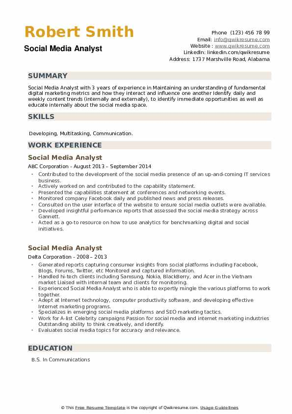 Social Media Analyst Resume example