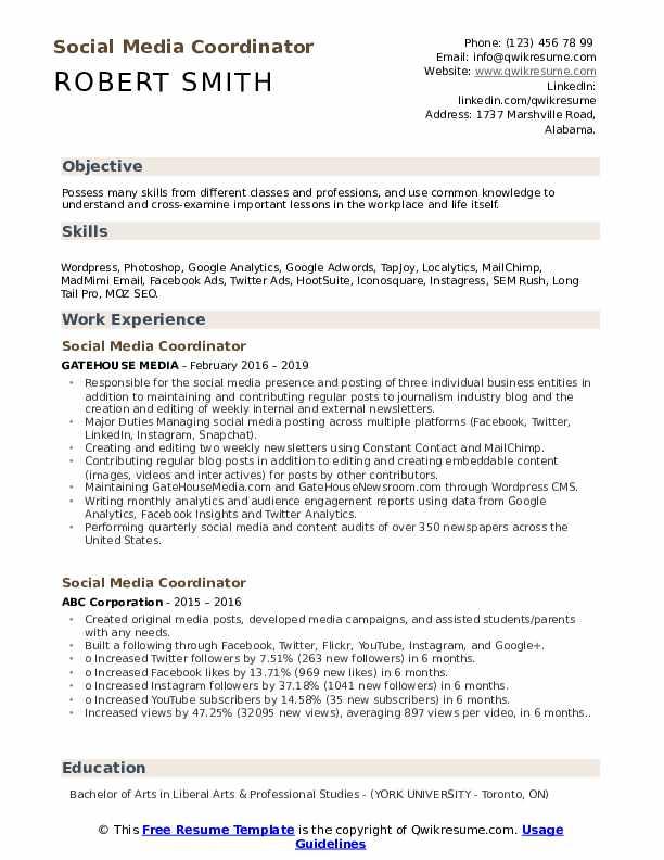 Social Media Coordinator Resume Format