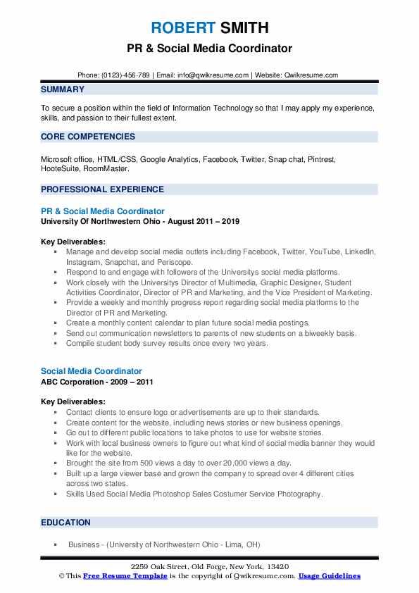 PR & Social Media Coordinator Resume Sample