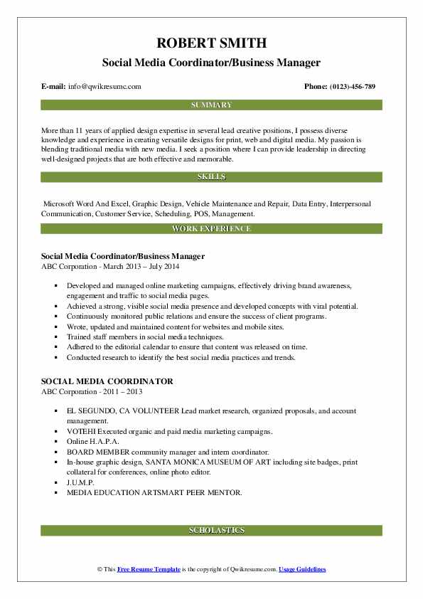 Social Media Coordinator/Business Manager Resume Format