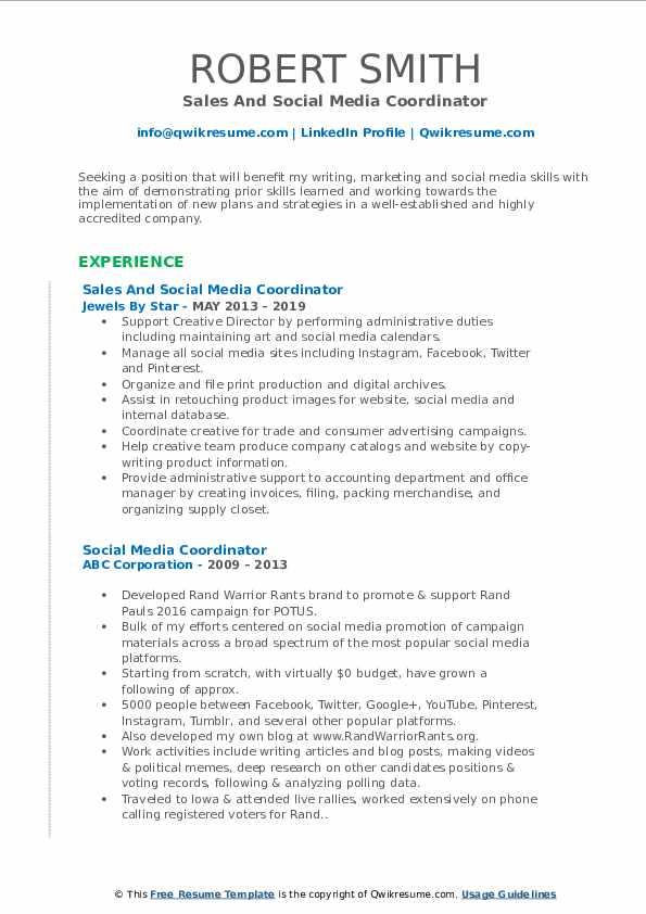social media coordinator resume samples