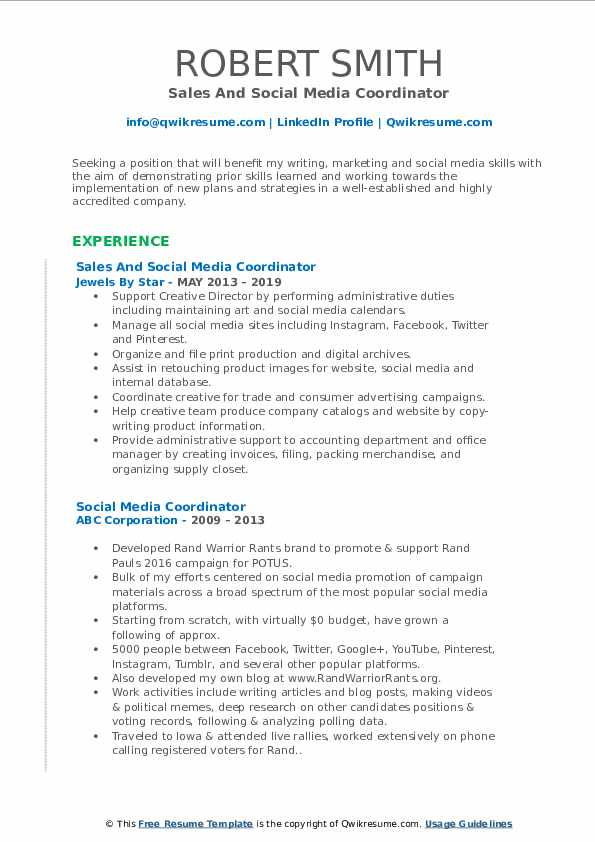 Sales And Social Media Coordinator Resume Template