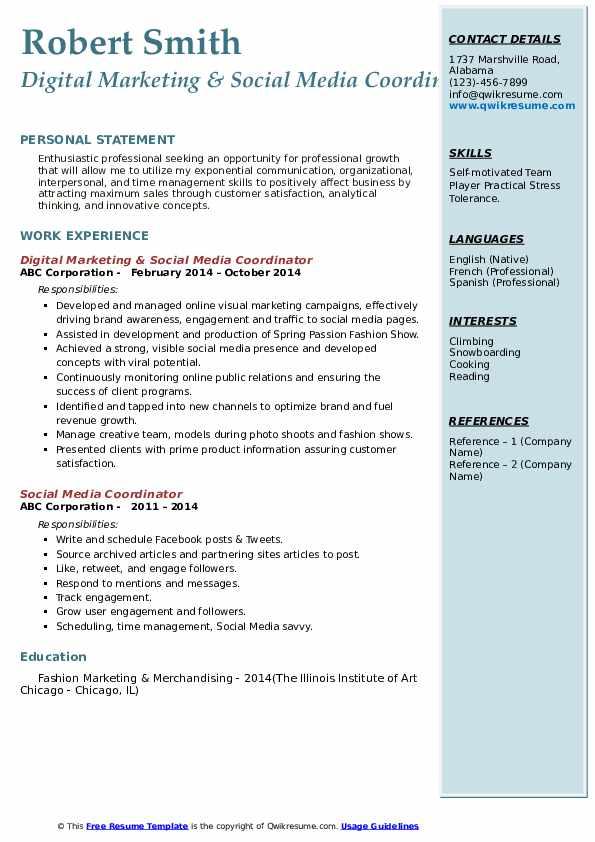 Digital Marketing & Social Media Coordinator Resume Model