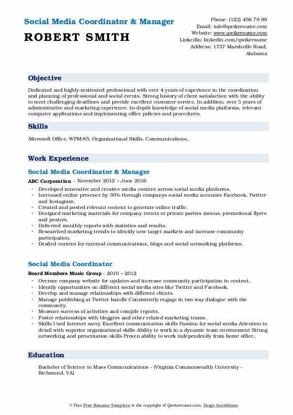 Social Media Coordinator & Manager Resume Template