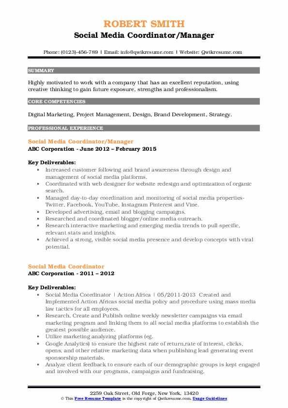 Social Media Coordinator/Manager Resume Model